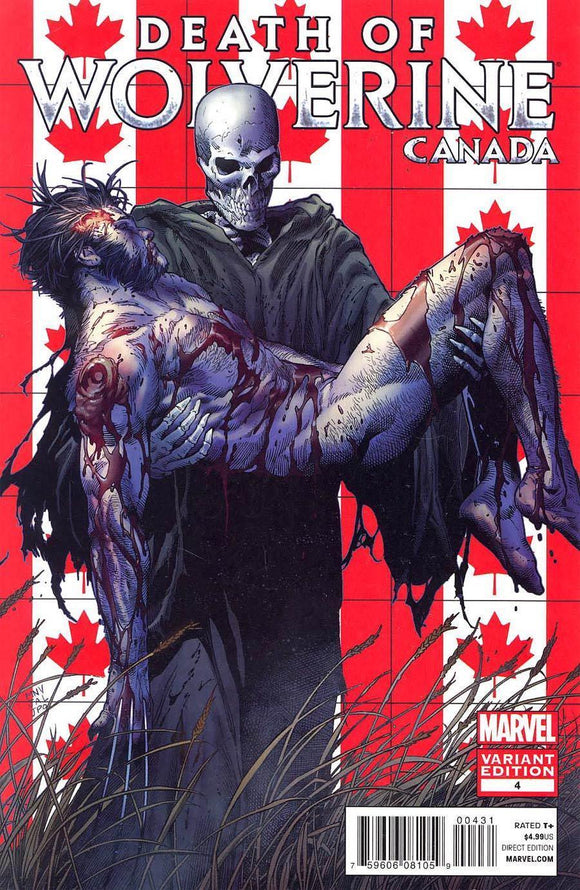 Death Of Wolverine #4 C 1St First Print Steve Mcniven Canada Variant Nm-/nm+ Comic