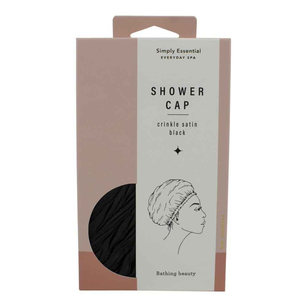 Crinkle Shower Cap Black