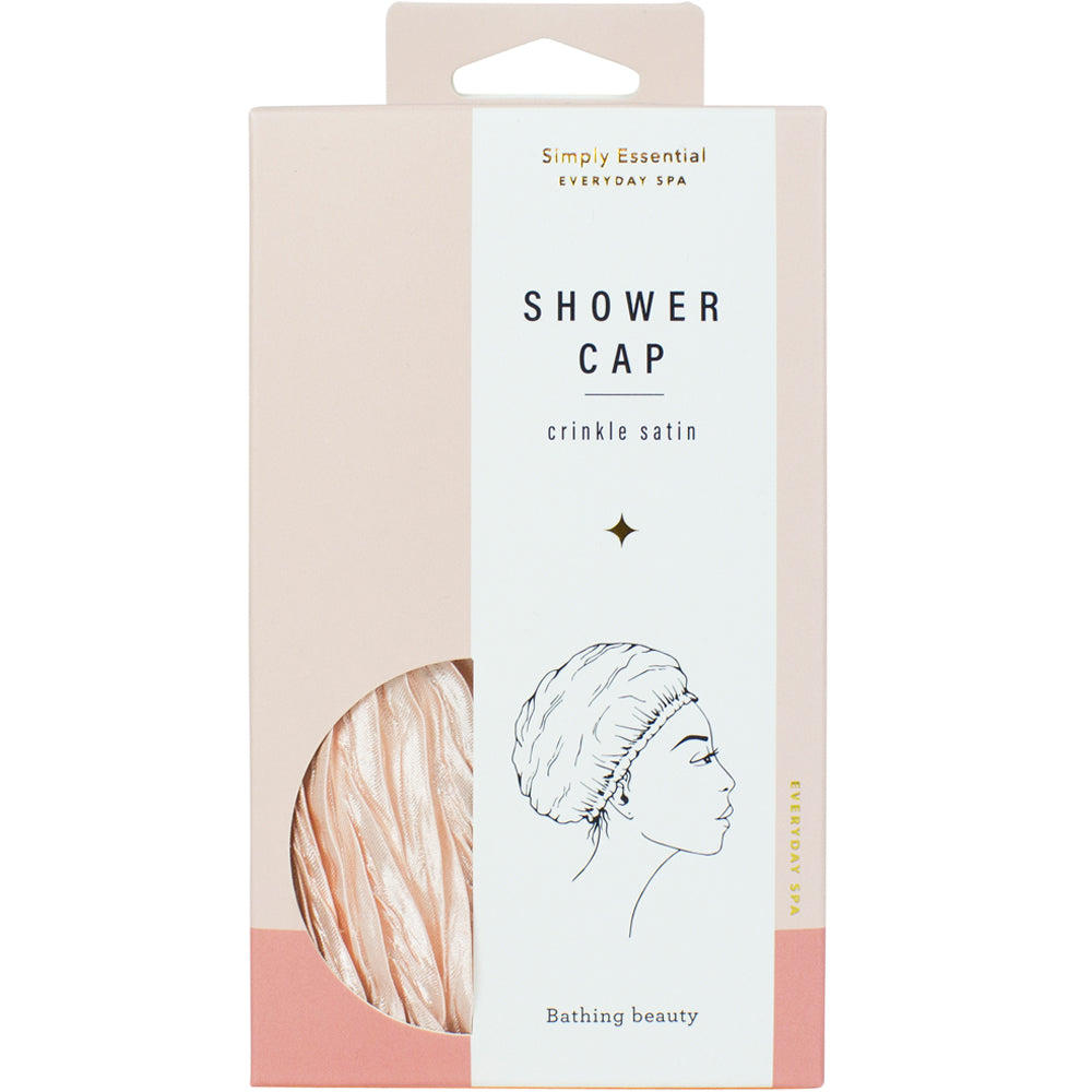 Crinkle Shower Cap Satin Pink