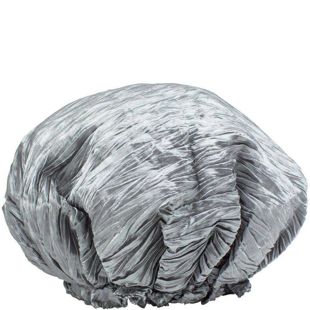 Crinkle Shower Cap Satin Silver