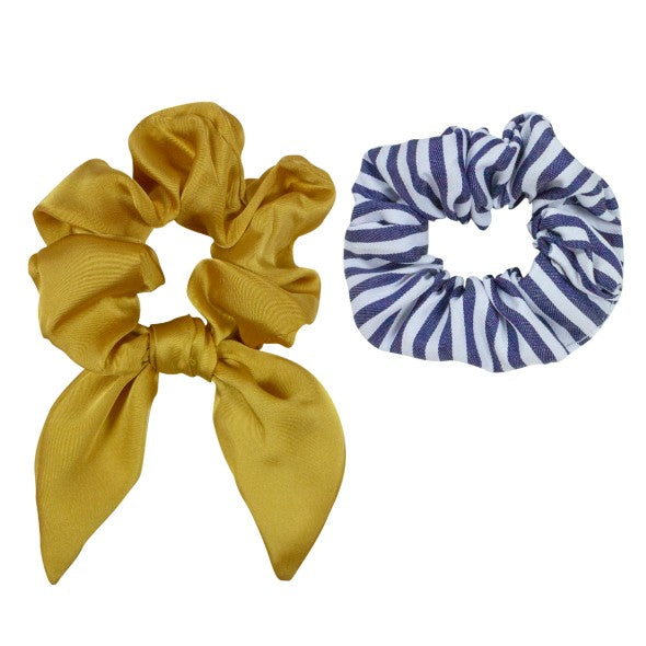 Elastic Scrunchies Mustard/Stripes (2)