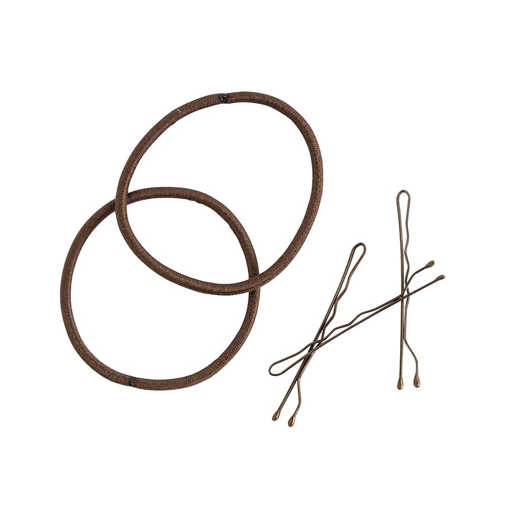 Combo Elastic and Bobby Pins Brown (25)