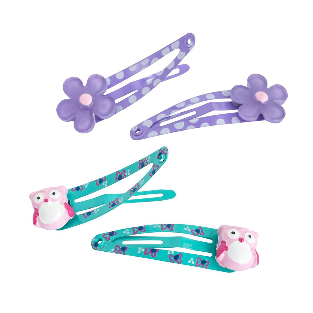 One Touch Clips 4cm Daisies & Owls (4)