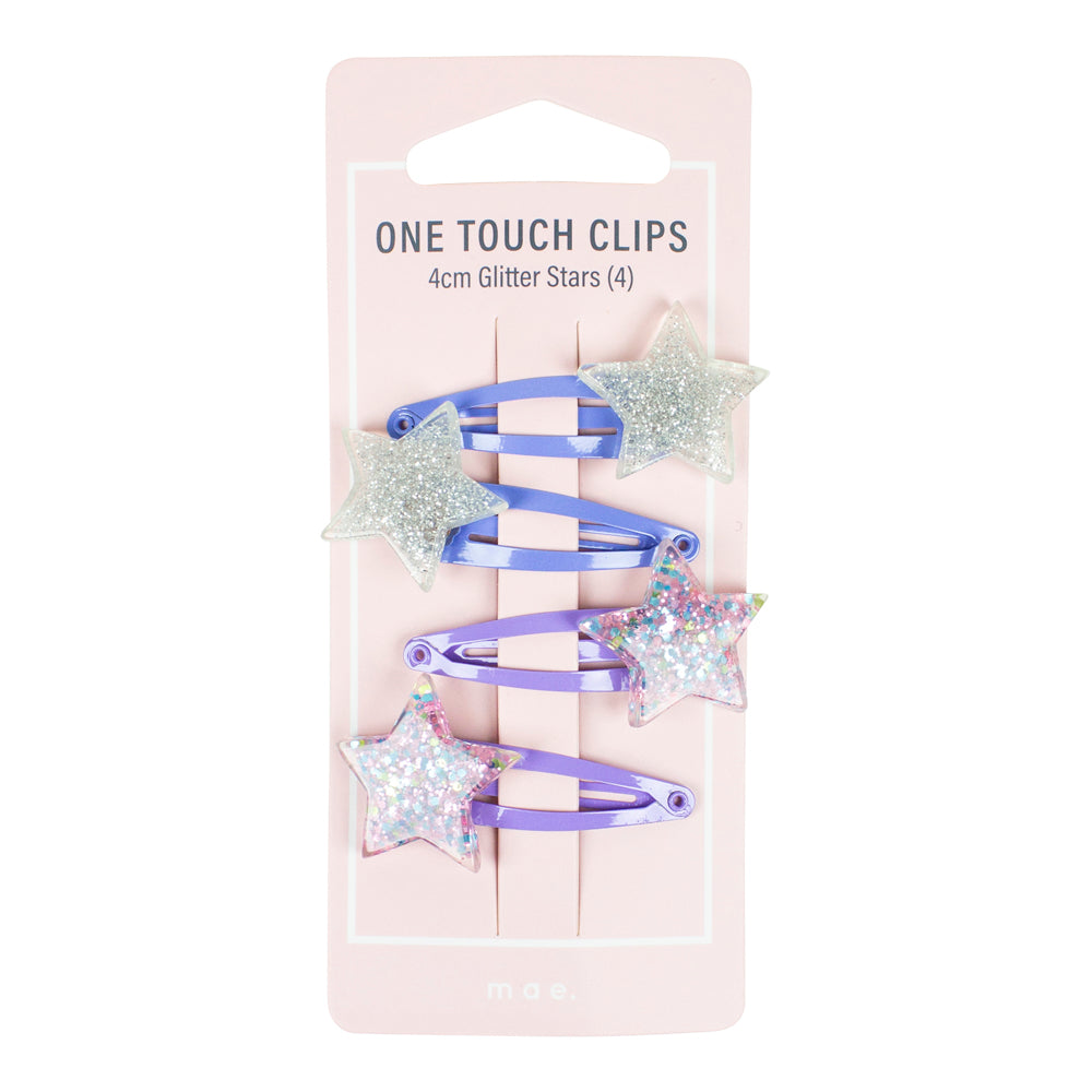 One Touch Clips 4cm Glitter Stars (4)