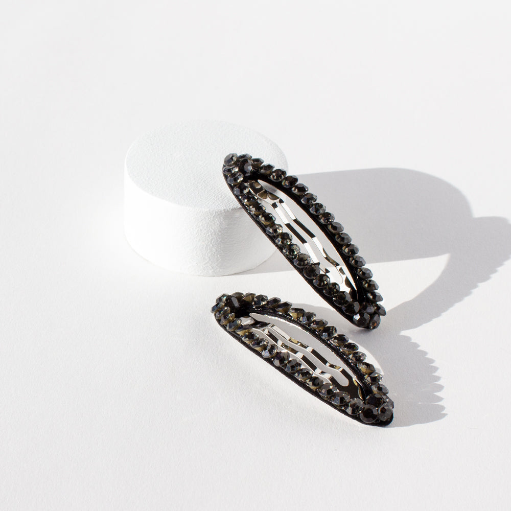 One Touch Clips Oval Rhinestone Smoke (2 Pack)