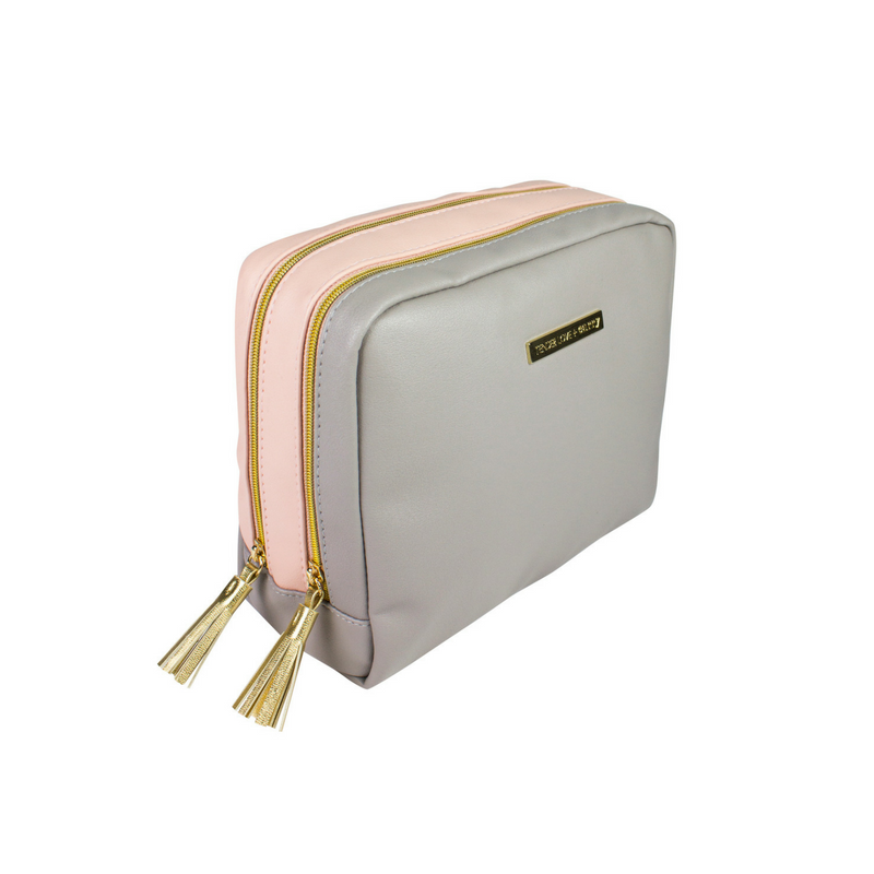 Two Tone - Pink Grey Double Pouch