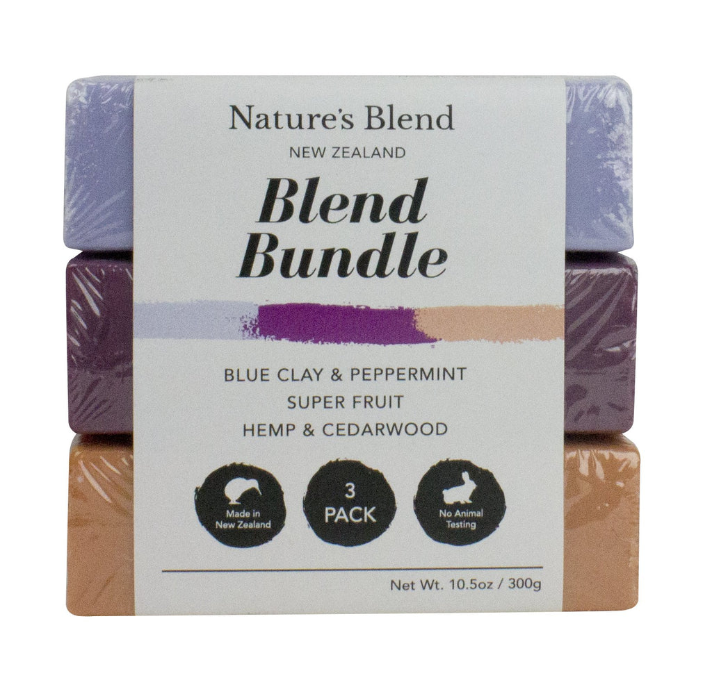 Nature's Blend Bar Soap - Hemp & Cedar wood, Blue clay & Peppermint; Superfruit 100g (3 Pack)