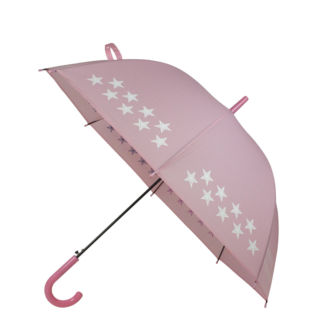 Childrens Colour Changing Stick Umbrella Auto Open Pink