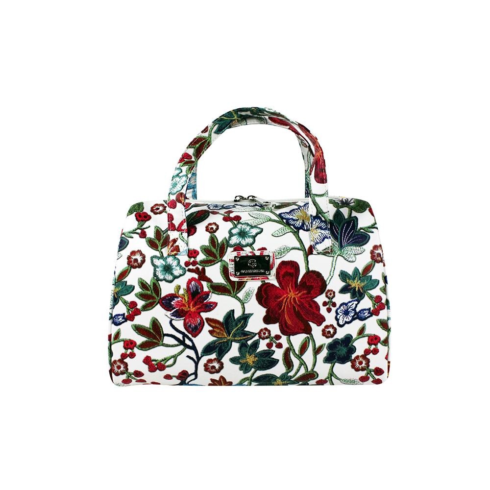 Embroidery Vanity Bag with Handles - White