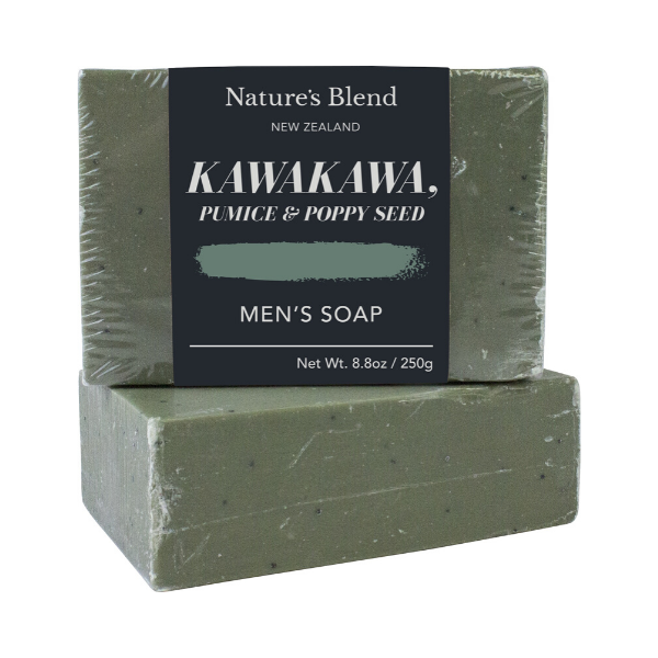 Men's Kawakawa, Pumice & Poppy Seed Soap 250g