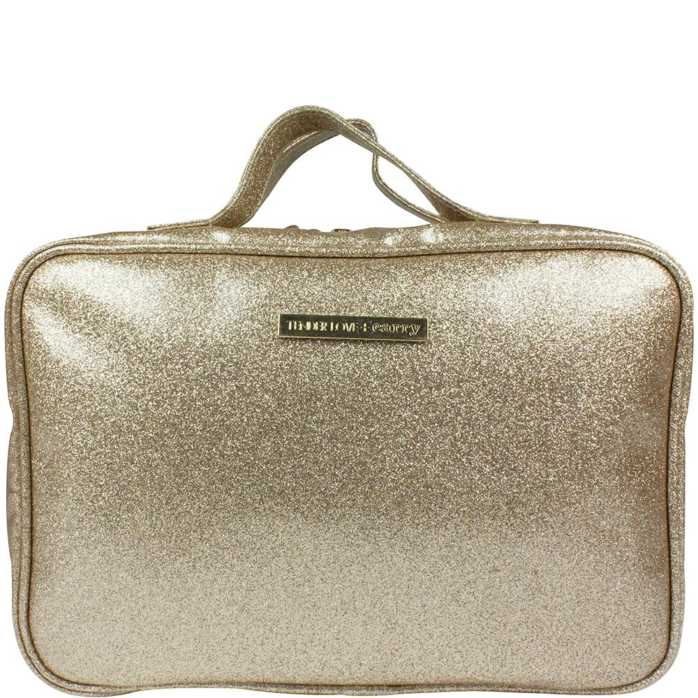 Laminated Glitter - Hanging Washbag  Gold