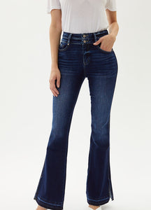 HIGH RISE CURVY DOUBLE BUTTON FLARE JEAN