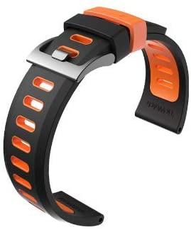 Ticwatch Pro S2 E2 Watch Band, for TicWatch Pro 22mm Width Watch Band, TicWatch Pro S2 E2 Replacement Band (Black-Orange)