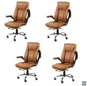 AVION Salon Chair (Set of 4-Cappuccino) for Nail Spa, Manicure, Facial, Customer Chair
