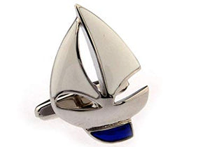 MRCUFF Presentation Gift Box Sailboat White Sails Pair Cufflinks & Polishing Cloth