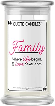 💍 Quote Candles | Family: Where Life Begins, Love Never Ends | Jewel Valued at $15 - $7,500 | 21oz Jar Soy Wax | Surprise Me! | Bedtime Spa