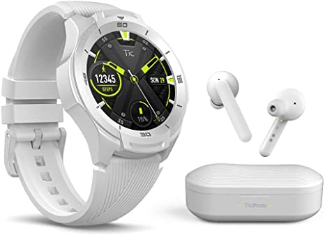 TicWatch Bundle with TicWatch S2 Smartwatch Wear OS,  GPS US Military Grade 5ATM Waterproof - Glacier + TicPods Free True Wireless Earbuds - Ice