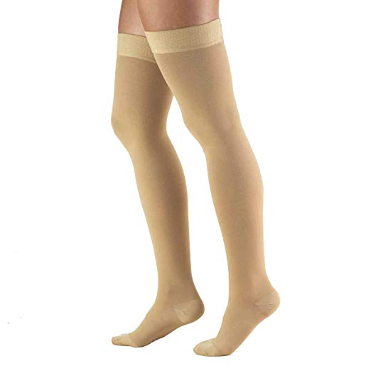 Truform 20-30 mmHg Compression Stockings for Men and Women, Thigh High Length, Dot Top, Closed Toe, Beige, Large (20-30 mmHg)