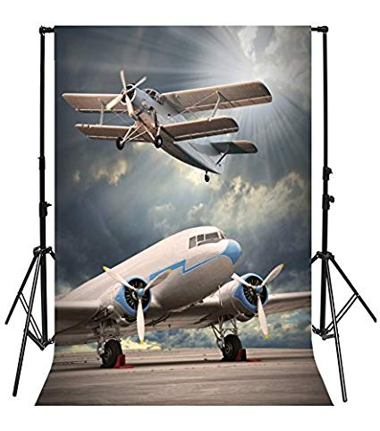 Yeele 8x10ft Airport Airplane Photo Backdrops Vinyl Biplane Aircraft Taking Off Flying Home Photography Background Adult Baby Portrait Photo Booth Video Wallpaper Shoot Props