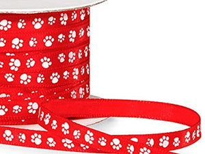 "Single Faced Satin Paw Print Ribbon 1/4"" Red with White Paw Print - 50 Yard Roll"