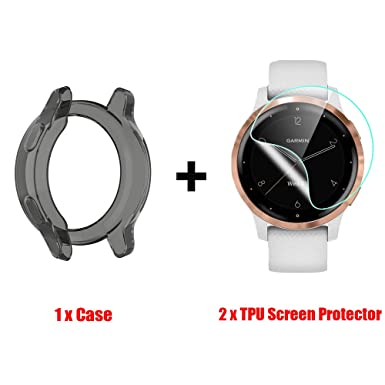 for Garmin Vivoactive 4S Case, Blueshaw Silicone Case with TPU Screen Protector (2 Pack) for Garmin Vivoactive 4S Smartwatch (Black case+ Screen Protector)