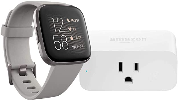 Fitbit Versa 2 Smartwatch (Stone/Mist Grey) with Amazon Smart Plug Bundle