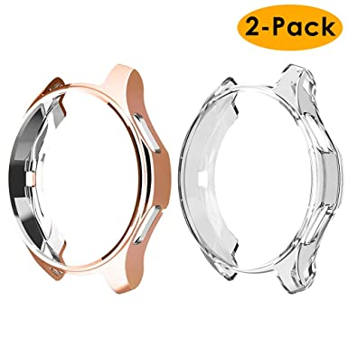 EZCO 2-Pack Case Compatible with Samsung Galaxy Watch 42mm, Soft TPU Plated Case Protector Bumper Shell for Galaxy Smart Watch 42mm SM-R800