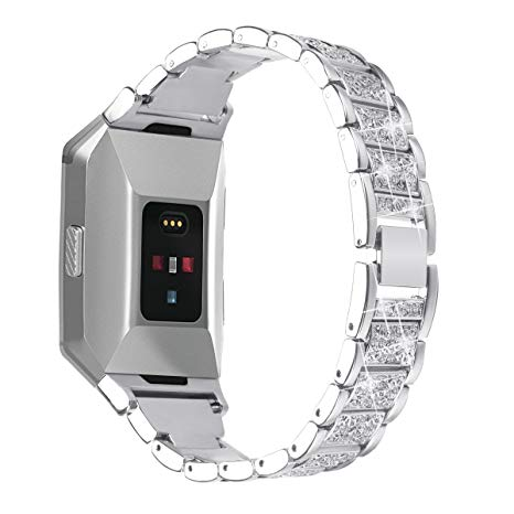 For Fitbit Ionic Bands, AISPORTS Fitbit Ionic Stainless Steel Rhinestone Band Bling Glitter Smart Watch Adjustable Replacement Band Wristband Buckle Clasp for Fitbit Ionic Fitness Accessories - Silver