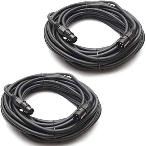 Seismic Audio - Set of two (2) 50 Feet DJ/PA XLR Microphone Cables - Mic Cable - Stage or Studio use