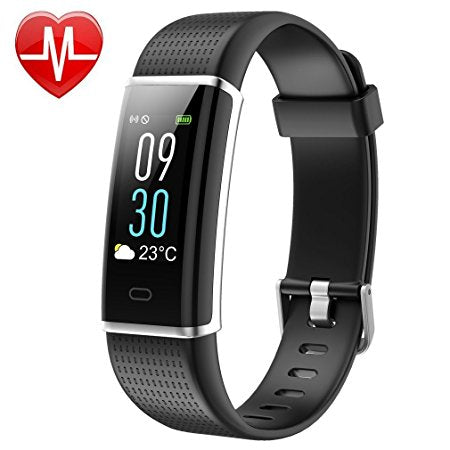 GoFitPlus Fitness Tracker Color Screen Waterproof Activity Tracker Heart Rate Monitor Pedometer Calories Counter Silent Vibration Alarm GPS Sleep Monitor Weather Bluetooth Smart Band for Android IOS