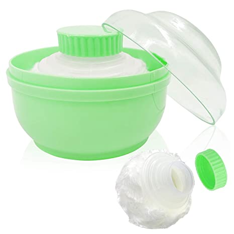 "Storage Body Powder Container, Large 3.15"" Fluffy Body After-bath Powder Case, Baby Care Face/Body Villus Powder Puff Box, Makeup Cosmetic Talcum Powder Container with Hand Holder (Green)"
