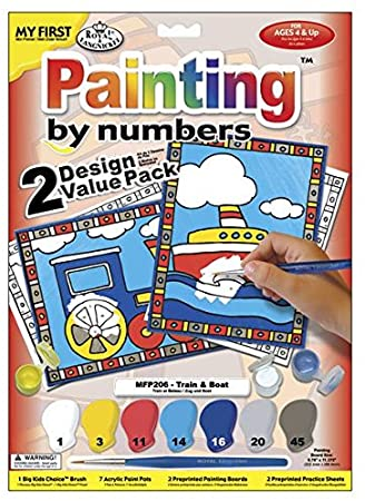 Royal Brush My First Paint by Number Kit, 8.75 by 11.375-Inch, Train and Boat, 2/pkg