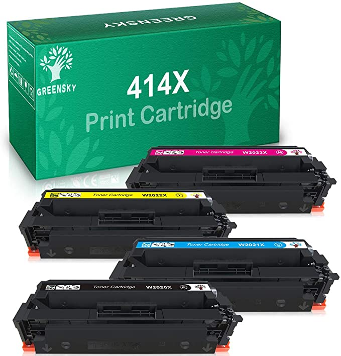 GREENSKY Compatible Toner Cartridge Replacement for HP 414X W2020X W2021X W2022X W2023X for HP Color Laserjet Pro MFP M479fdw, M479fdn, M454dw, M454dn (Black Cyan Magenta Yellow, 4-Pack)