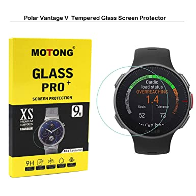 MOTONG for Polar Vantage V Screen Protector - MOTONG Tempered Glass Screen Protectors for Polar Vantage V Watch,9 H Hardness,0.3mm Thickness,Made from Real Glass