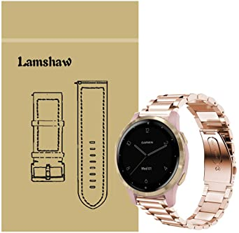 Compatible with Garmin vivoactive 4S Band, Blueshaw Quick Release Stainless Steel Metal Replacement Straps for Garmin vivoactive 4S (40mm) Smartwatch (Metal-Rose Gold)