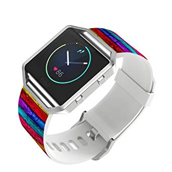 Fitbit Blaze Watch Band Leather, Viwell Smart Watch Strap for Fitbit Blaze Smart Fitness Watch - Colorful wood prints