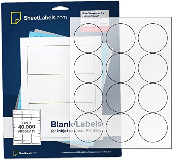 "2.5"" Clear Round Labels, Inkjet or Laser Printable, Crystal Clear Gloss - 300 Labels"