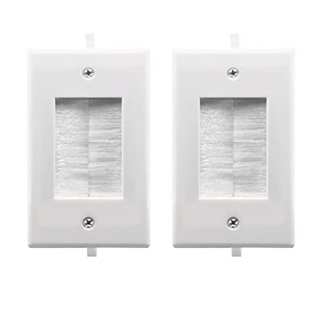 Recessed Low Voltage Cable Through Brush Wall Plate,Yomyrayhu,Easy to Mount Outlet,Cable Management Pass Through Wall Plate,Works Great with Audio/Vedio,HDMI,Home Theater and More,White(2 Pack)