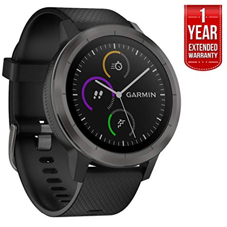 Garmin 010-01769-11 Vivoactive 3 GPS Fitness Smartwatch (Black & Gunmetal) + 1 Year Extended Warranty