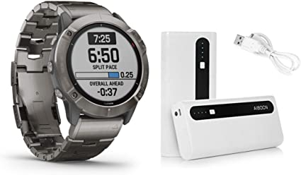 Garmin Fenix 6X Pro Solar Titanium with Vented Titanium Bracelet, Premium Multisport GPS Watch (010-02157-23) and Aibocn 10,000mAh Portable Battery Charger Bundle