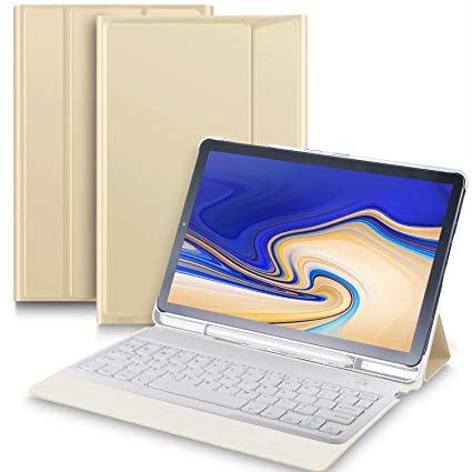 Bosewek Samsung Galaxy Tab S4 10.5 Keyboard Case Ultra-Thin Stand Case with Attached Keyboard for Galaxy Tab S4 10.5 SM-T830 (Wi-Fi) & SM-T835 (4G LTE) Tablet (Gold)