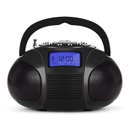 Mini Radio Clock, Bluetooth Speakers MP3 Stereo System Portable with Powerful Bluetooth Speaker- FM Alarm Clock Radio with Card Reader, USB and AUX in (Micro USB) Black (SE20)