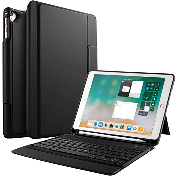 Bosewek New iPad 9.7 2018 Case With Keyboard - Lightweight One-piece Bluetooth Keyboard Case with Pencil Holder for Apple New iPad 9.7 2018/2017/iPad Pro 9.7/iPad Air 2/iPad Air Tablet (Black)
