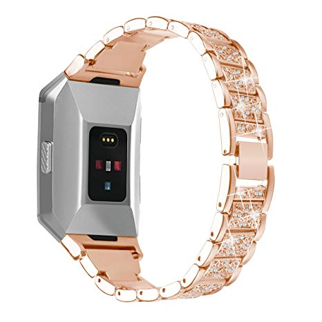 For Fitbit Ionic Bands, AISPORTS Fitbit Ionic Stainless Steel Rhinestone Band Bling Glitter Smart Watch Adjustable Replacement Band Buckle Clasp for Fitbit Ionic Fitness Accessories - Rose Gold