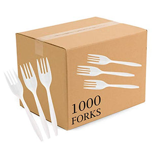 Plasticpro Cutlery Plastic Forks Medium Weight Disposable Silverware White (1000 Count)
