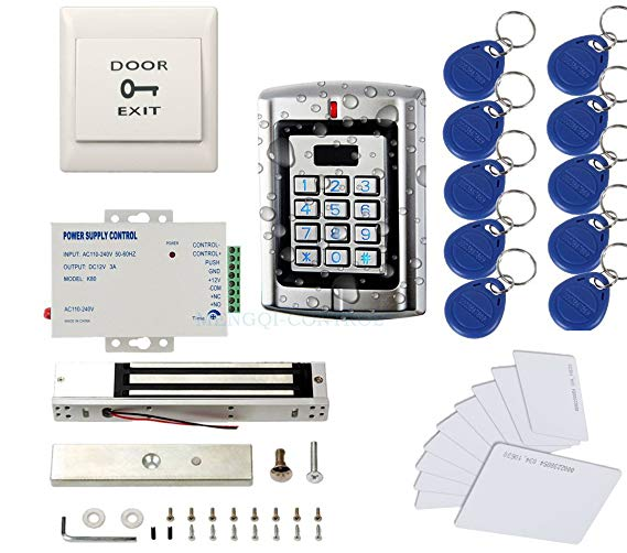 Metal Weatherproof Access Control System 600LBS Force Electric Magnetic Lock +110VPower Supply+Exit Button+Cards+Key Fobs