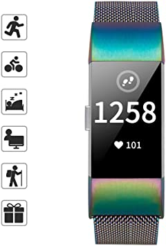 TOMALL Metal Bands Compatible for Fitbit Charge 2,Stainless Steel Metal Replacement Wristband for Women Men (Large, Rainbow)