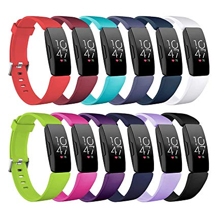 Fitbit Inspire & Inspire HR Bands Accessories Watchbands, FITLI Soft Silicone Sport Replacement Wrist Band for Fitbit Inspire & Inspire HR Smartwatch for Women Men (12Pack, Large: 6.7''-8.1'')