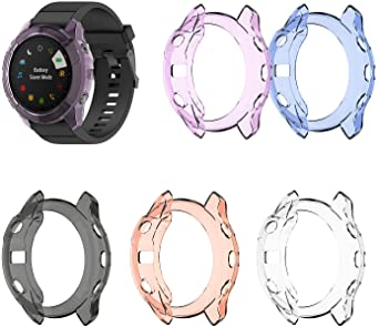 RuenTech Case Cover Compatible with Garmin Fenix 6X/6X Pro/Fenix 6X Sapphire Case Protector TPU Protective Case Frame for Fenix 6X GPS Watch (Pink/Blue/Purple/Black/Clear)