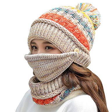 Fleece Lined Women Knit Beanie Scarf Mouth Mask Set for Girl Winter Ski Hat with Pompom